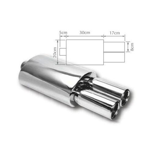 TWIN ROUND EXHAUST TIP MUFFLER STAINLESS STEEL